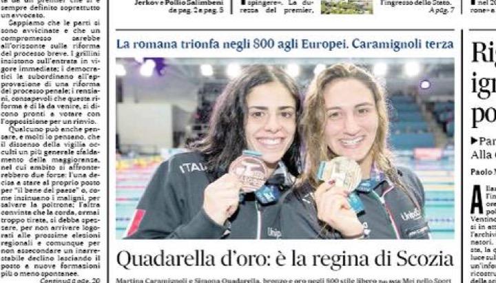 Gli 800 di Quadarella e Caramignoli in prima pagina