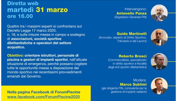 """Forumpiscine: web conference per il """"Decreto Cura Italia"""" e le piscine"""