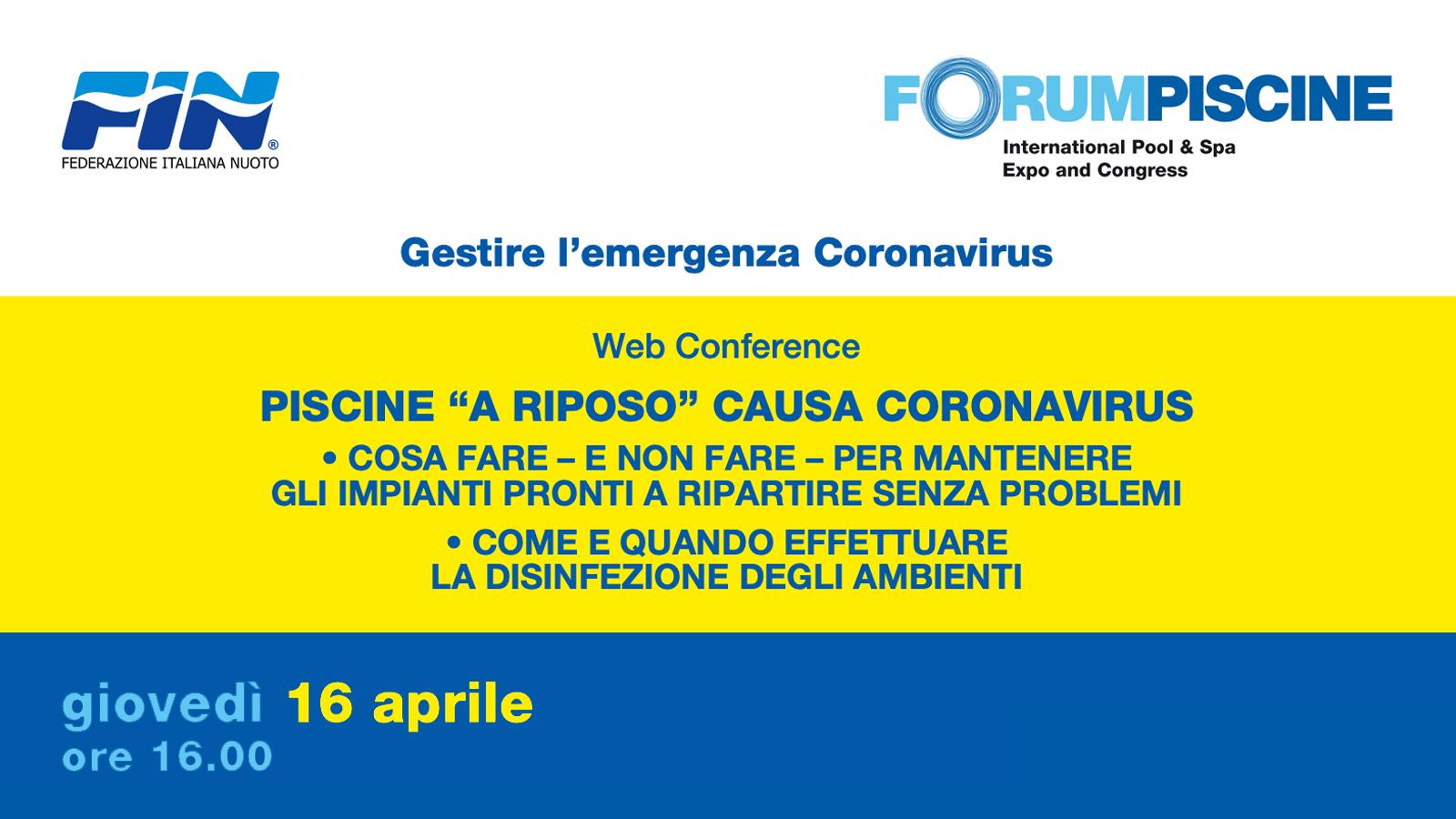 Piscine a riposo causa coronavirus – web conference di ForumPiscine