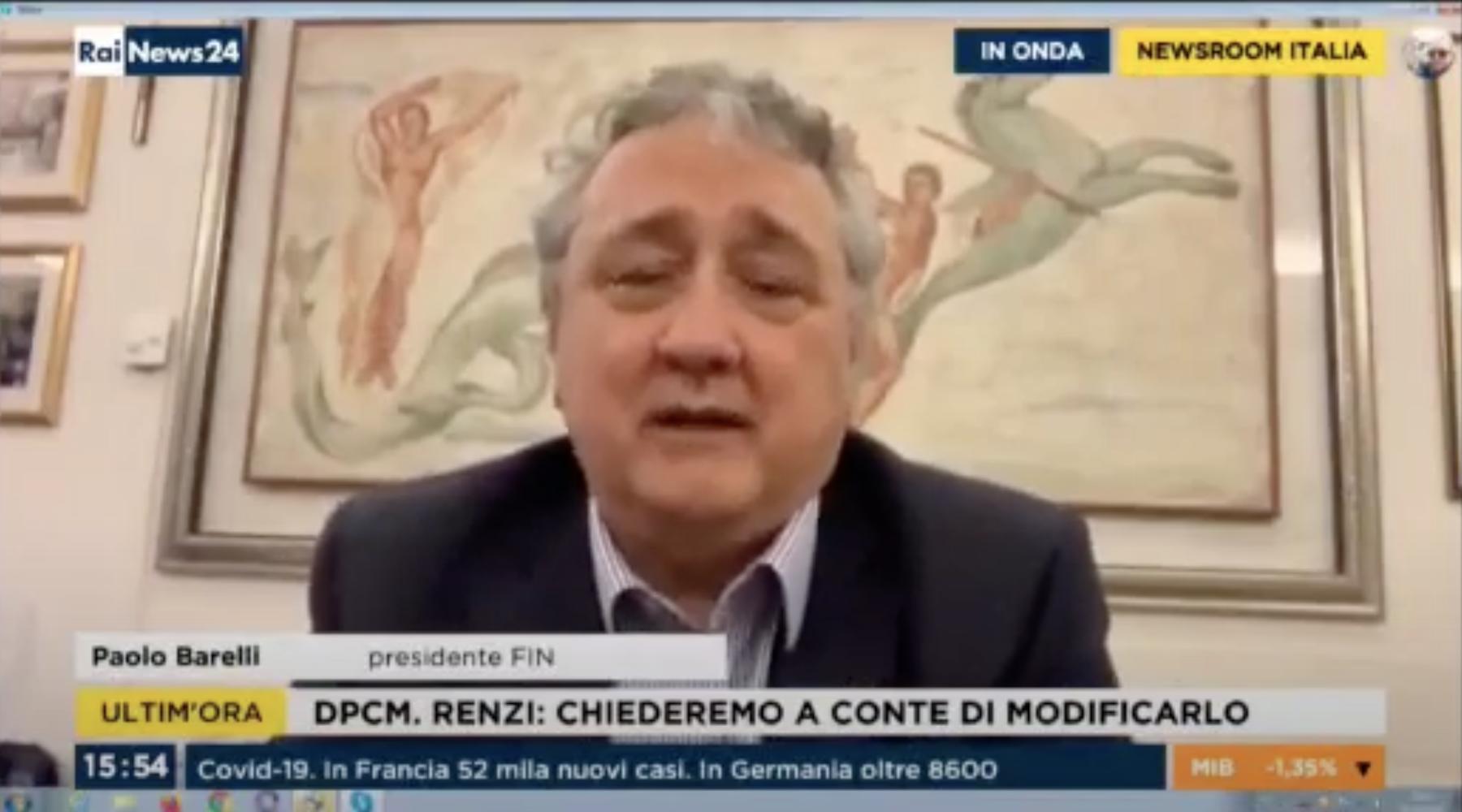 """Il Presidente FIN Barelli a RAI news 24. """"I giovani che non potranno fare sport, saranno per strada ammassandosi"""""""