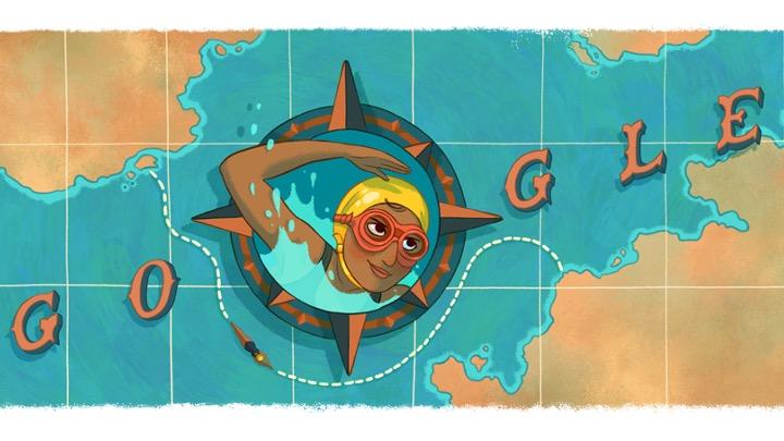 Un Doodle di Google per celebrare una nuotatrice
