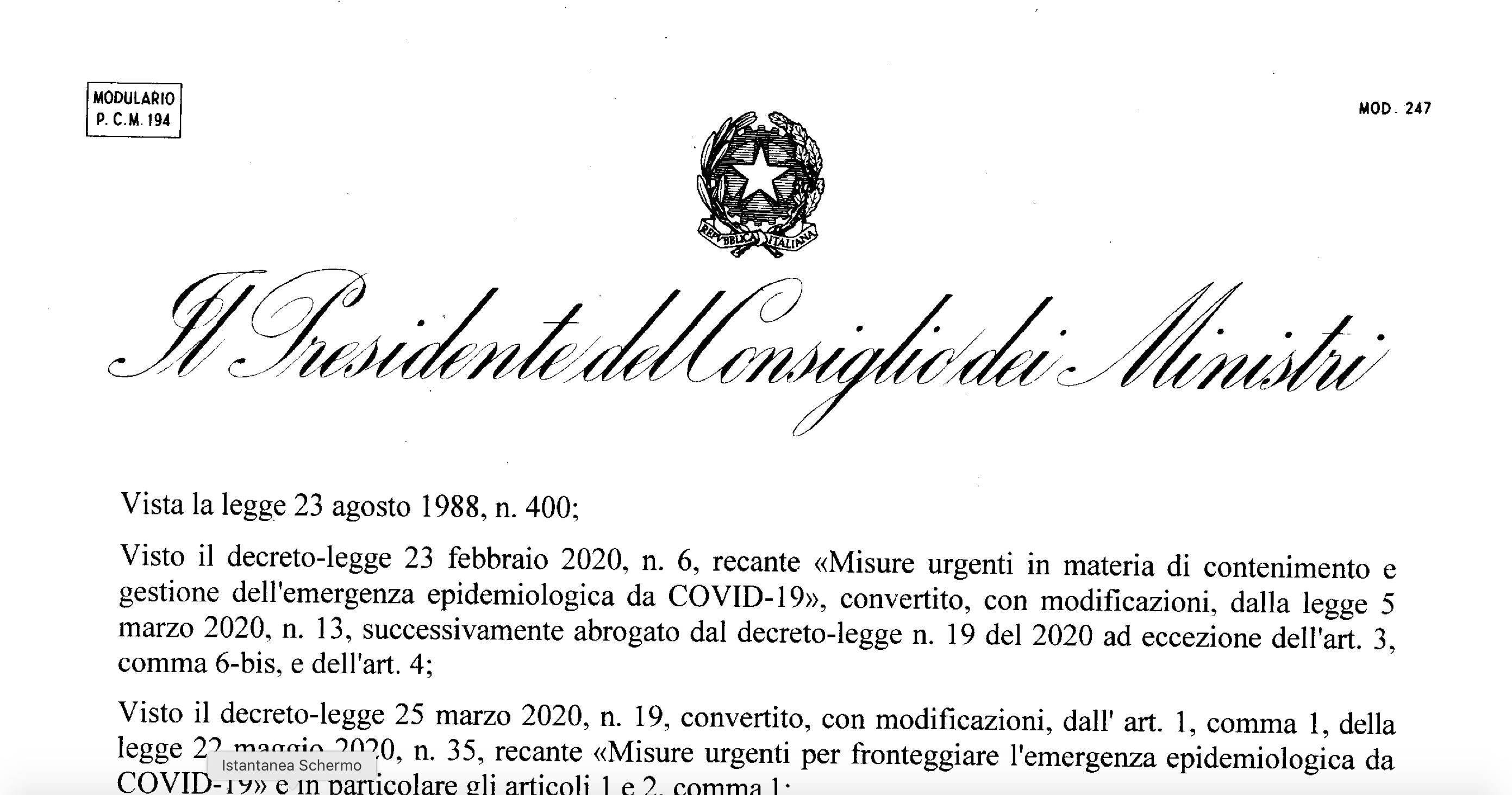 DPCM 24/10/2020: il testo definitivo
