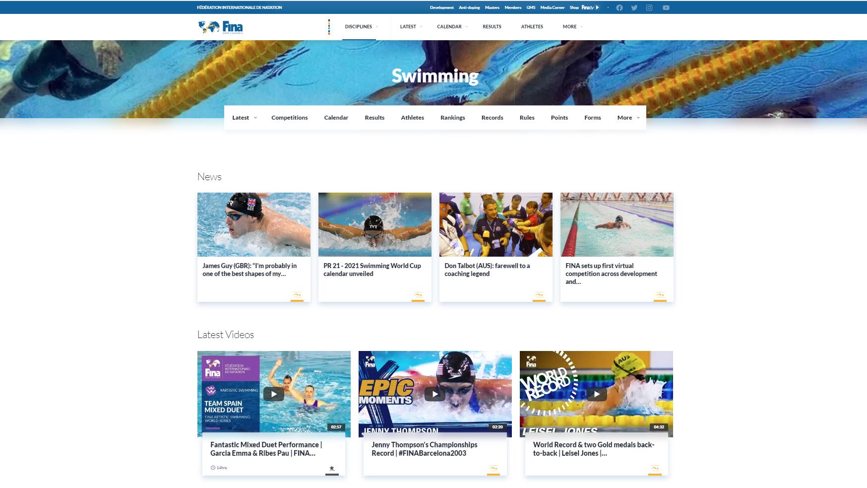 Il nuovo sito FINA. Una valanga di informazioni
