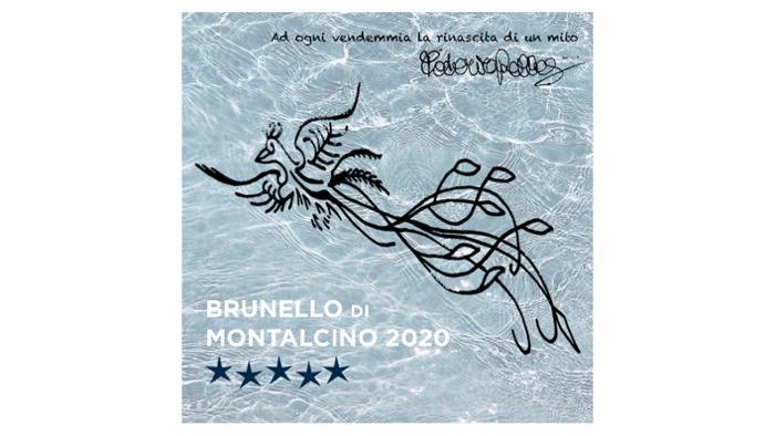 Brunello di Montalcino, sulla mattonella dell'annata 2020 il sigillo dell'Araba Fenice della Pellegrini