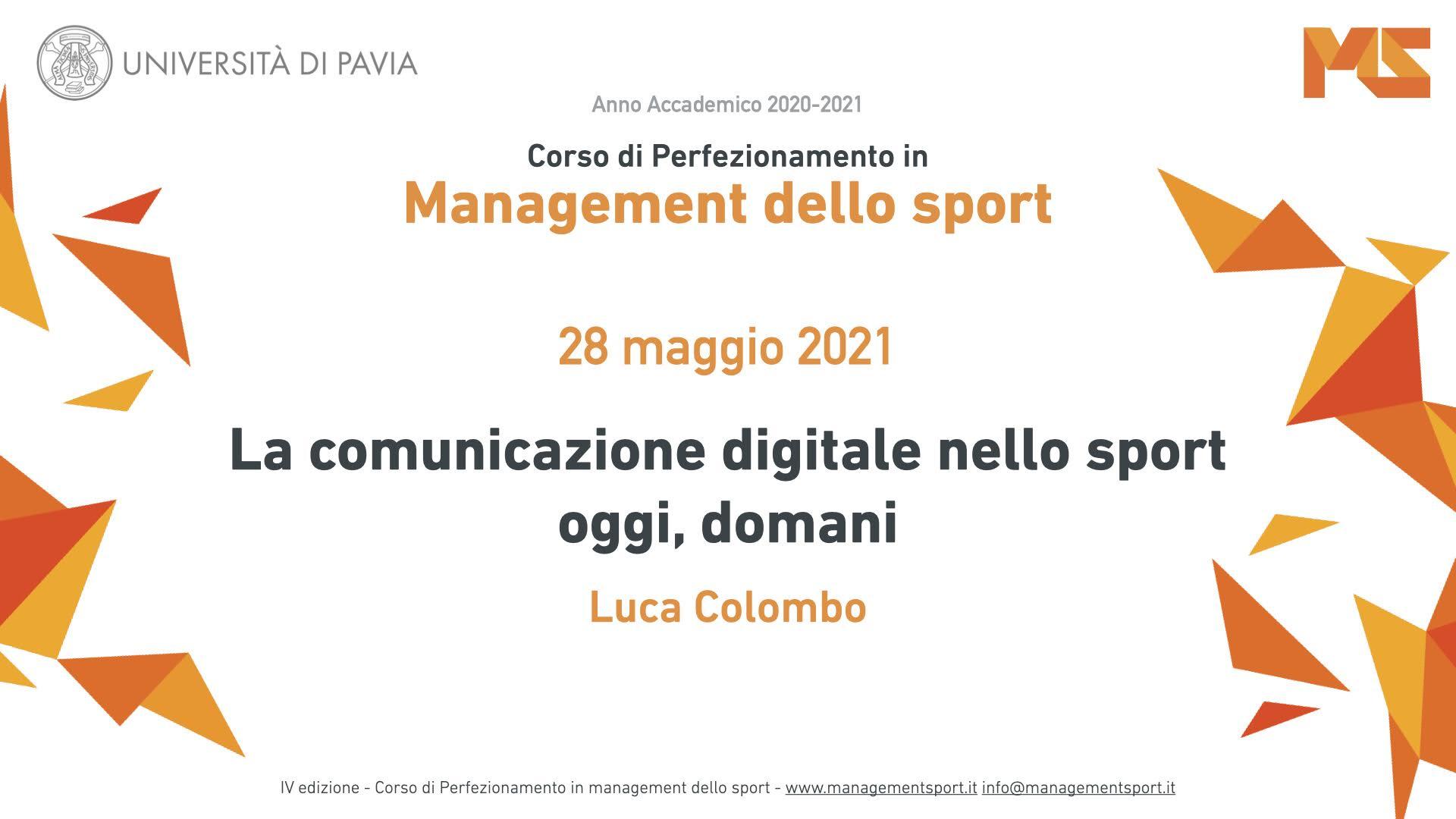 Comunicare lo sport secondo Facebook: Luca Colombo docente al corso di management