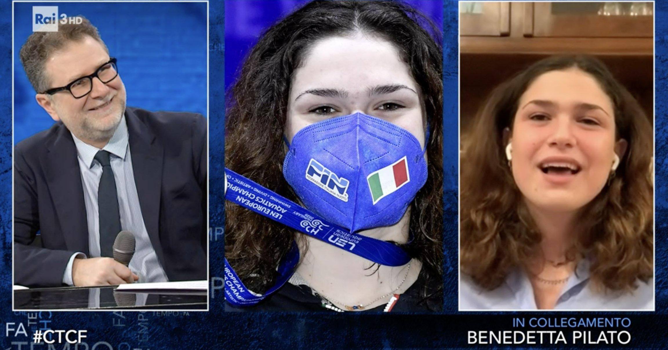 """Benedetta Pilato (e l'Italnuoto) a """"Che tempo che fa"""""""