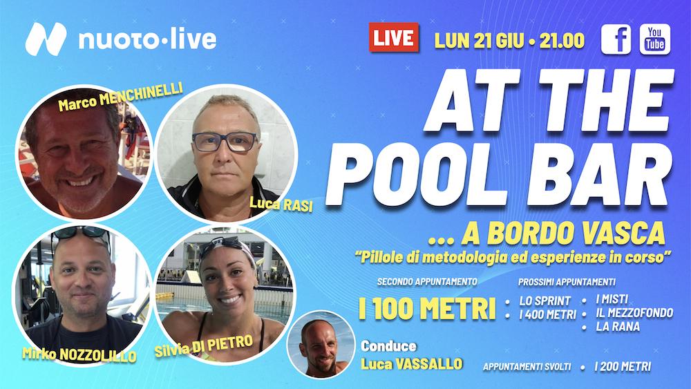 """At The Pool Bar. """"… A bordo vasca.""""  I 100 metri. Con Mirko Nozzolillo e Silvia Di Pietro."""